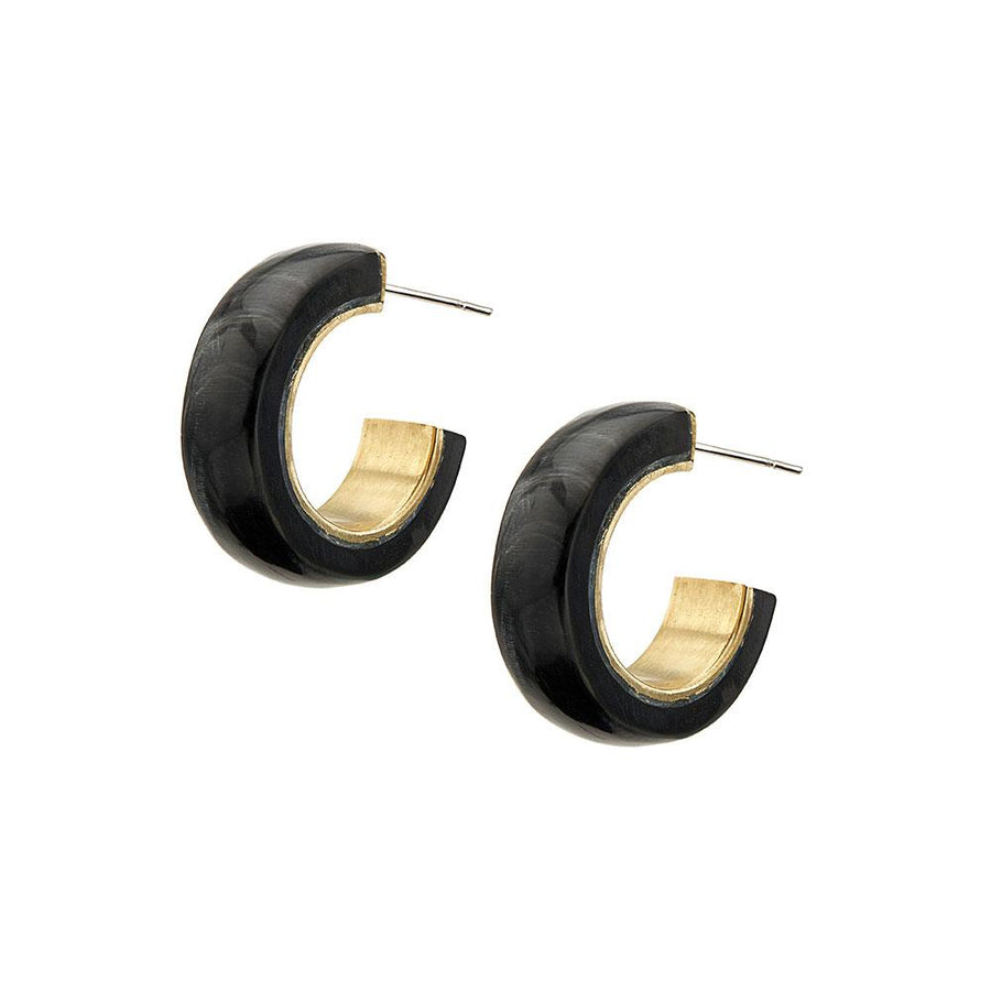 Sana Mini Horn Hoop Earrings- Black