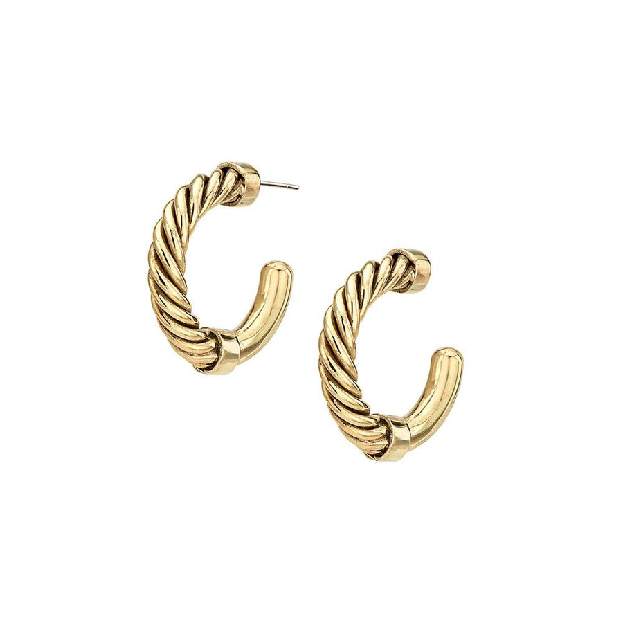 Uzi Mini Hoop Earrings-24k Gold Plated