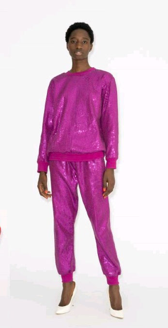 Sequin Sweatpants  Desert  Pink