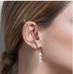BL-000018 Triple Pearl Drop Earring