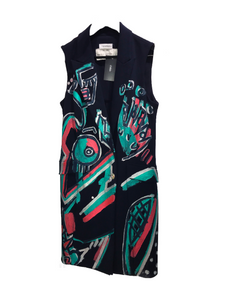 Patricia Field LARA PADILLA Formal Painted Navy Dress