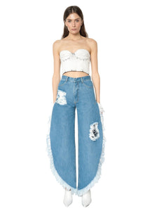 Ksenia Schnaider Medium Blue Wide Fringed Jeans