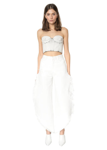 Ksenia Schnaider White Denim Wide Fringed Jeans