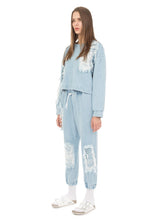 Ksenia Schnaider Light Blue Drawstring Distressed Denim Jogger