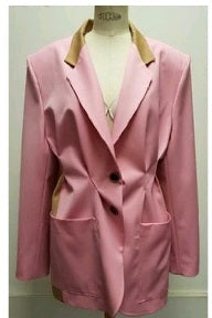 NC-000770 SS19402-09/15  color PINK/BEIGE size 34 OVERSIZED PLEATED LS BUTTONED JACKET
