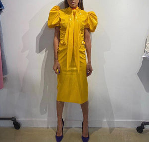 Fernando Garcia Yellow Patent Leather Dress