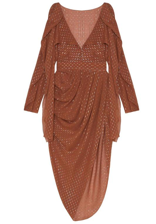 Brown chiffon asymmetrical dress