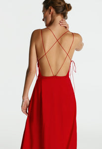 Red Backless Maxi Dress with Straps