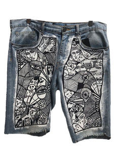 Patricia Field Lewis Beilharz Hand Painted Denim Shorts