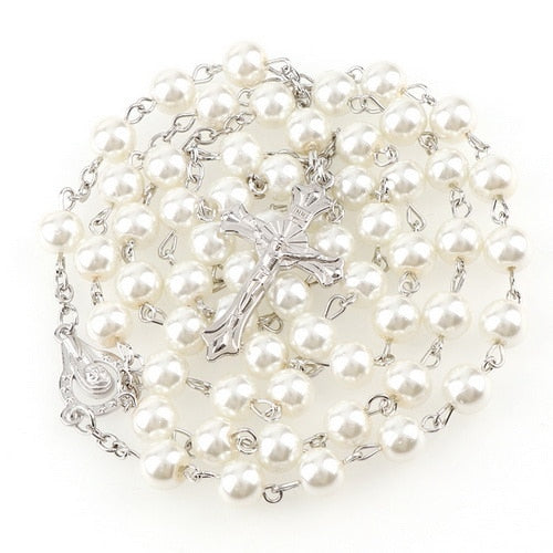 Beautiful Ivory Faux Pearl Rosary Catholic Deal