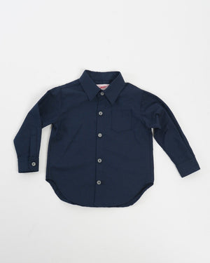 Kids Long Sleeve Button-Up Shirt - Navy Hearts