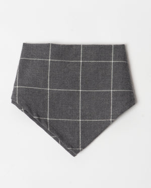 Kids Bandana - charcoal windowpanes - front