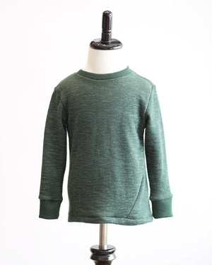 Kids Dark Green Long Sleeve French Terry T-Shirt - front