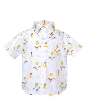 Kids Short Sleeve Button Up Shirt Dreamcatchers print - front
