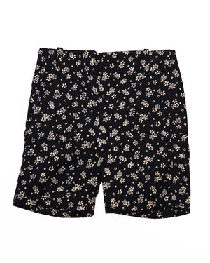 Kids Summer Shorts Navy with White Flowers and Hearts - front