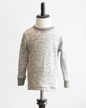 Kids Grey Melange Jersey Long Sleeve T-shirt - front