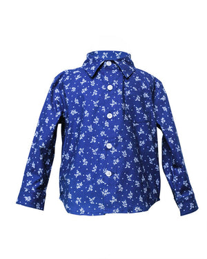 Kids Button Up Shirt Indigo Floral - front