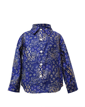 Kids Button Up Shirt Indigo Patchwork - front