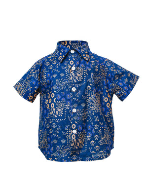 Kids Short Sleeve Button Up Shirt Indigo Patchwork - front