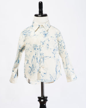 Kids Button Up shirt - living dead blue - front