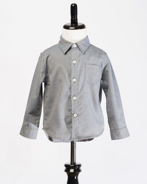 Kids Button Up Shirt - grey fleck - front