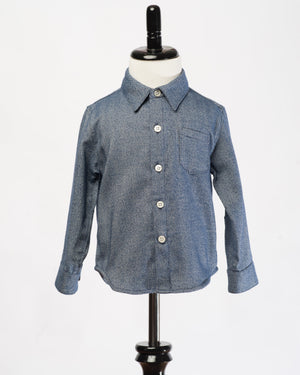 Kids Button Up Shirt - Navy Herringbone - front