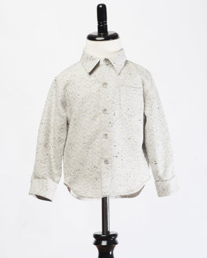 Kids Button Up Shirt - white out - front