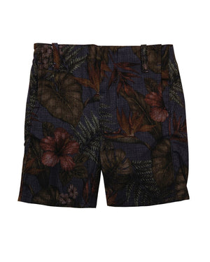 Kids Summer Shorts Dark Floral Pattern - front