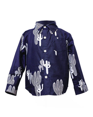 Kids Button Up Navy Cactus Shirt - front