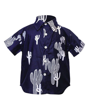 Kids Short Sleeve Button up Shirt Navy Cactus print - front