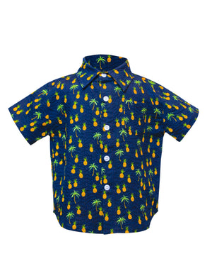 Hopper Shirt Short Sleeve | Navy Pineapples