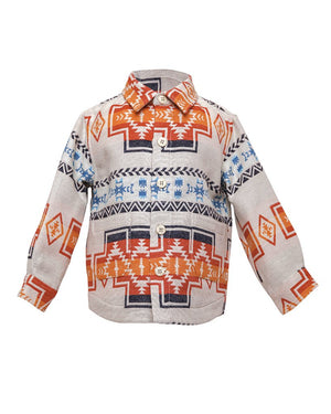 Kids Aztec Jacket White - front