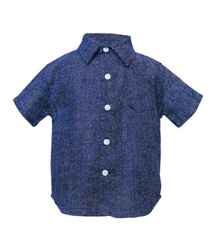 Kids Short Sleeve Button Up Shirt - front