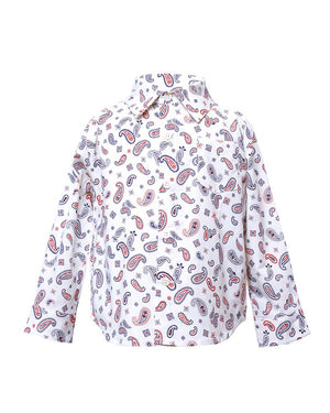Kids Long Sleeve Button Up White Paisley print - front