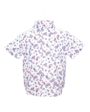 Kids Short Sleeve Button Up Shirt White Paisley print - front