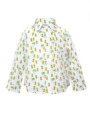 Long Sleeve Shirt | White Pineapples