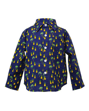 Long Sleeve Shirt | Navy Pineapples