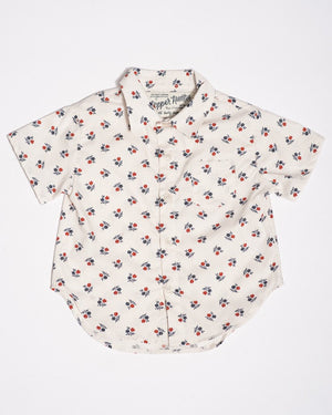 Cotton short sleeve white wild flowers shirt