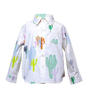 Kids Button Up Shirt White Colourful Cactus print - front