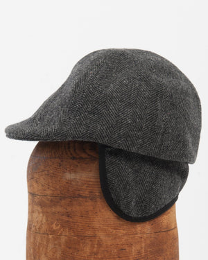 Kids Charcoal Herringbone Wool Cap - on figure