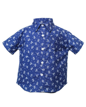 Kids Short Sleeve Button Up Shirt Indigo Floral Print - front
