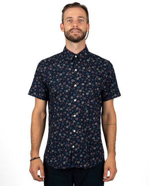 Short Sleeve Dylan | Navy Wildflowers