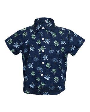Short Sleeve Shirt | Navy Palms Seersucker