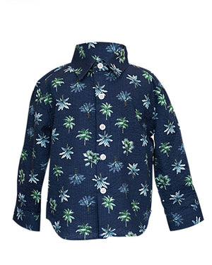 Hopper Shirt Long Sleeve | Navy Palms Seersucker