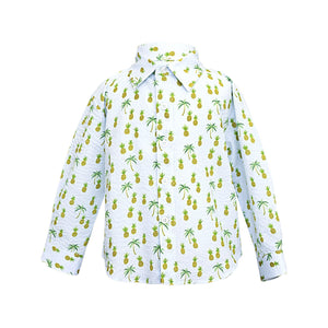 Kids Button Up Shirt Blue Pineapples Long Sleeve - front