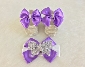 Purple Baby Shoes & Headband - Chikids Fashion