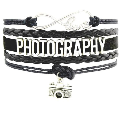 Image of Infinity Love Photography Leather Wrap Charm Bracelets B0989
