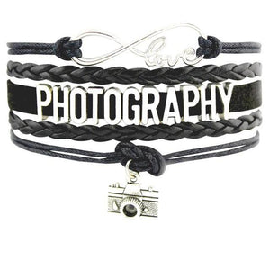 Infinity Love Photography Leather Wrap Charm Bracelets B0989