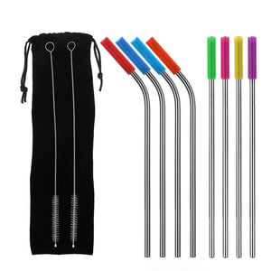 8PCS/set Stainless Steel Drinking Straw With Silicone Tips and Clean Brush Drinking Straws