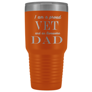 Proud Vet, Awesome Dad Tumblers Orange